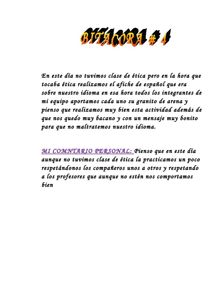 En este día no tuvimos clase de ética pero en la hora quetocaba ética realizamos el afiche de español que erasobre nuestro...