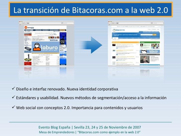La transición de Bitacoras.com a la web 2.0 Evento Blog España   Sevilla 23, 24 y 25 de Noviembre de 2007 Mesa de Emprende...