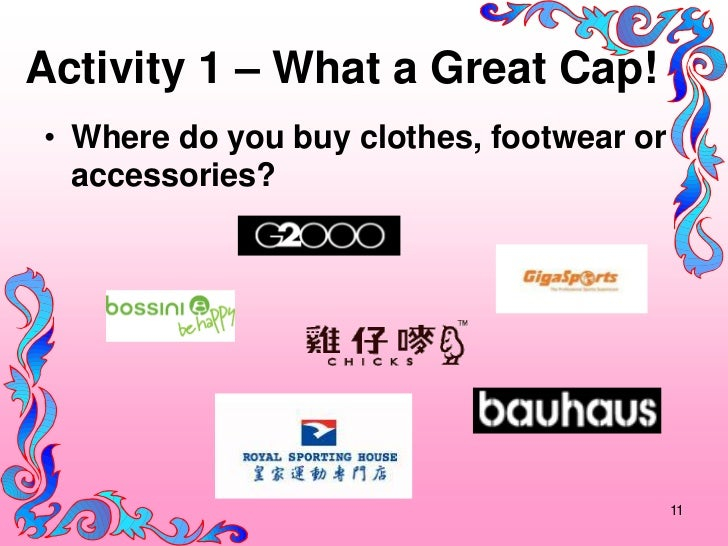 Activity 1 – What a Great Cap!• Where do you buy clothes, footwear or  accessories?                                       ...