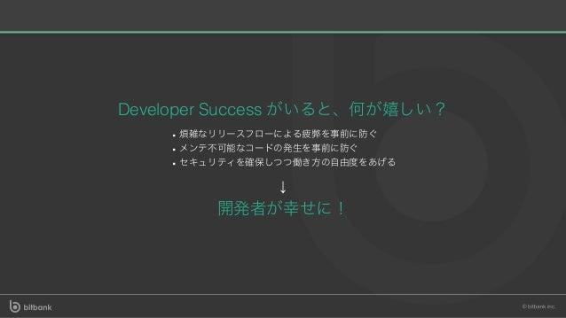 Developer Success がいると、何が嬉しい? 煩雑なリリースフローによる疲弊を事前に防ぐ メンテ不可能なコードの発⽣を事前に防ぐ セキュリティを確保しつつ働き⽅の⾃由度をあげる ↓ 開発者が幸せに!