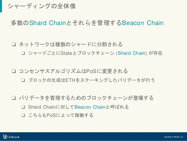 シャーディングの全体像 Copyright © bitbank, inc. 多数のShard Chainとそれらを管理するBeacon Chain ❏ ネットワークは複数のシャードに分割される ❏ シャードごとにStateとブロックチェーン (...