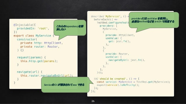 26 これらのdependencyを解 決したい providersにはuseValue を使用し、 必要なmethodなどを jest.fn で用意する Serviceの DI が解決されてnew できる