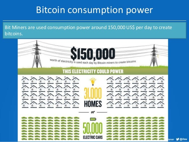 Bitcoin consumption power Bit Miners are used consumption power around 150,000 US$ per day to create bitcoins.