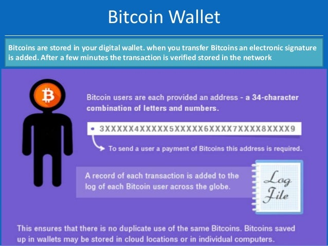 Bitcoin Wallet Bitcoins are stored in your digital wallet. when you transfer Bitcoins an electronic signature is added. Af...