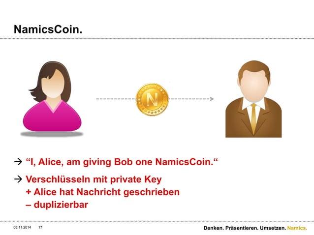 "Namics.  NamicsCoin.   ""I, Alice, am giving Bob one NamicsCoin.""   Verschlüsseln mit private Key  + Alice hat Nachricht ..."