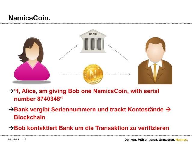 "Namics.  NamicsCoin.  ""I, Alice, am giving Bob one NamicsCoin, with serial  number 8740348""  Bank vergibt Seriennummern ..."