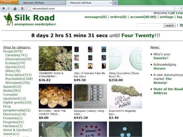 稼働中の闇サイトも多数 Silkroad 2.0が再開された 他、類似サイトも多数 Tor Hidden Serviceの Onionドメイン上で開設 Duck Duck Go等で検索索可能