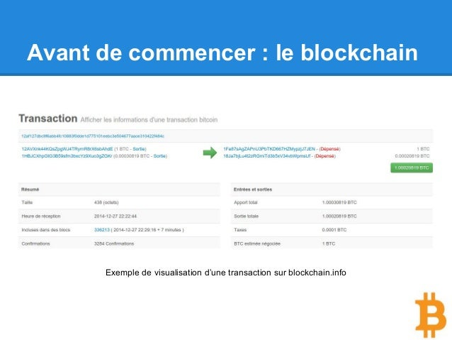 Avant de commencer : le blockchain Exemple de visualisation d'une transaction sur blockchain.info