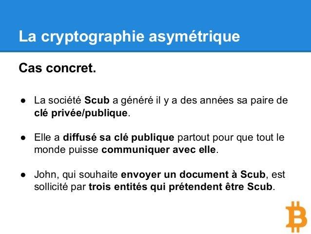 La cryptographie asymétrique Cas concret. ● La société Scub a généré il y a des années sa paire de clé privée/publique. ● ...
