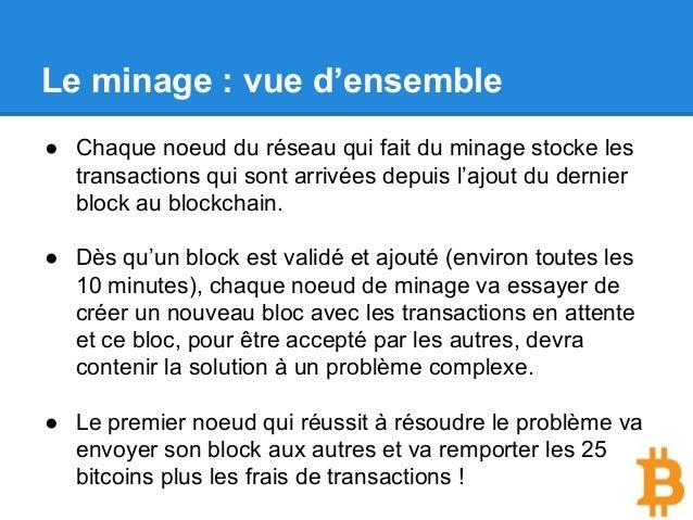 Le minage : vue d'ensemble ● Chaque noeud du réseau qui fait du minage stocke les transactions qui sont arrivées depuis l'...