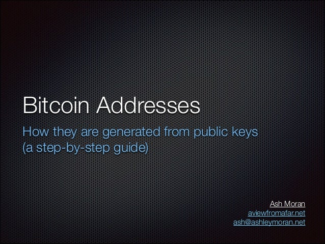 Bitcoin Addresses How they are generated from public keys (a step-by-step guide)  Ash Moran aviewfromafar.net ash@ashleymo...