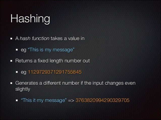 """Hashing A hash function takes a value in eg """"This is my message"""" Returns a fixed length number out eg 1129729371291755845 G..."""