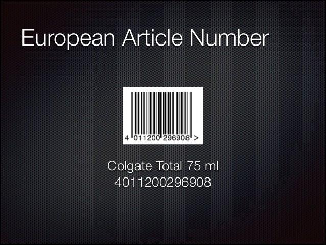 European Article Number  Colgate Total 75 ml 4011200296908