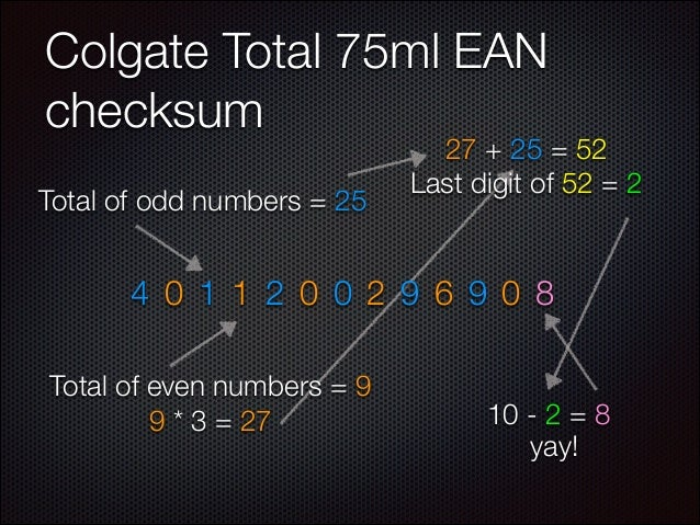 Colgate Total 75ml EAN checksum Total of odd numbers = 25  27 + 25 = 52 Last digit of 52 = 2  4 0 1 1 2 0 0 2 9 6 9 0 8 To...