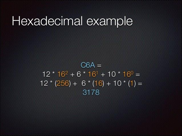 Hexadecimal example  C6A = 2 + 6 * 161 + 10 * 160 = 12 * 16 12 * (256) + 6 * (16) + 10 * (1) = 3178