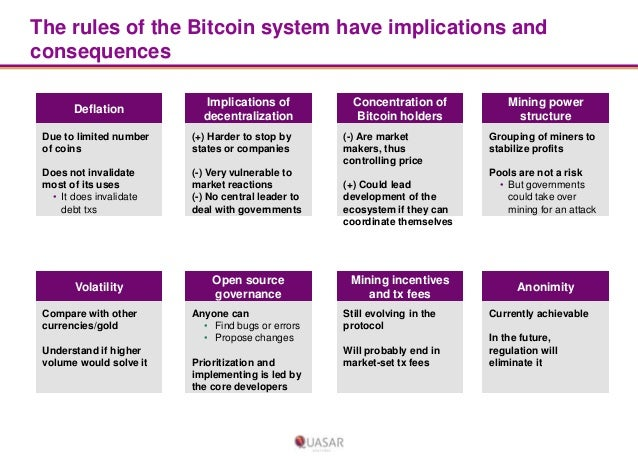 The rules of the Bitcoin system have implications and consequences Deflation  Implications of decentralization  Due to lim...