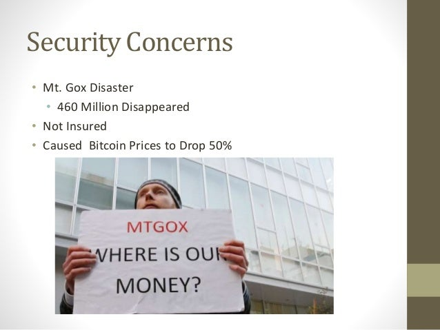 Security Concerns • Mt. Gox Disaster • 460 Million Disappeared • Not Insured • Caused Bitcoin Prices to Drop 50%