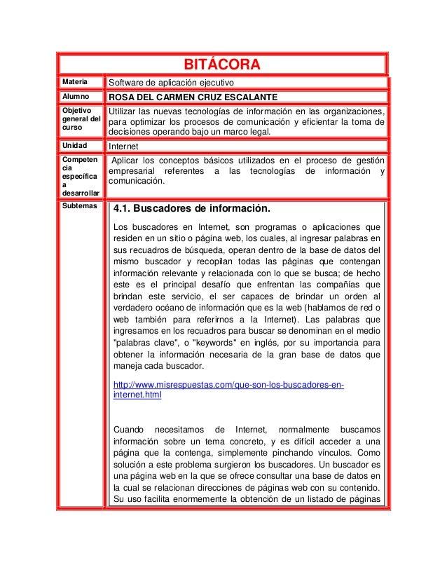 BITÁCORAMateria Software de aplicación ejecutivoAlumno ROSA DEL CARMEN CRUZ ESCALANTEObjetivogeneral delcursoUtilizar las ...