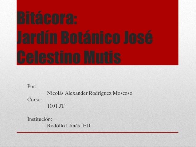 Bitácora: Jardín Botánico José Celestino Mutis Por: Nicolás Alexander Rodríguez Moscoso Curso: 1101 JT Institución: Rodolf...