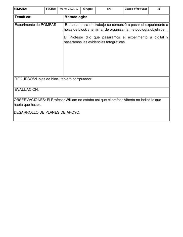SEMANA:            FECHA:   Marzo.23/2012   Grupo:        8ª1        Clases efectivas:    SiTemática:                     ...
