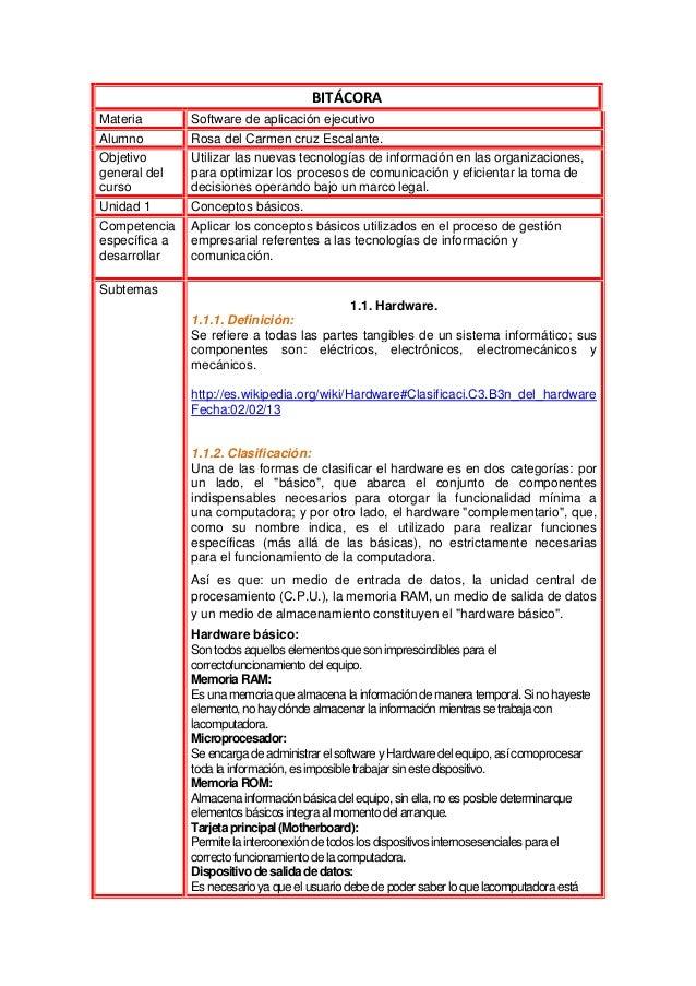 BITÁCORAMateria        Software de aplicación ejecutivoAlumno         Rosa del Carmen cruz Escalante.Objetivo       Utiliz...