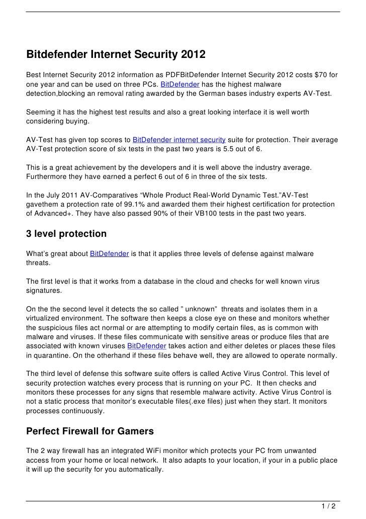 Bitdefender Internet Security 2012Best Internet Security 2012 information as PDFBitDefender Internet Security 2012 costs $...