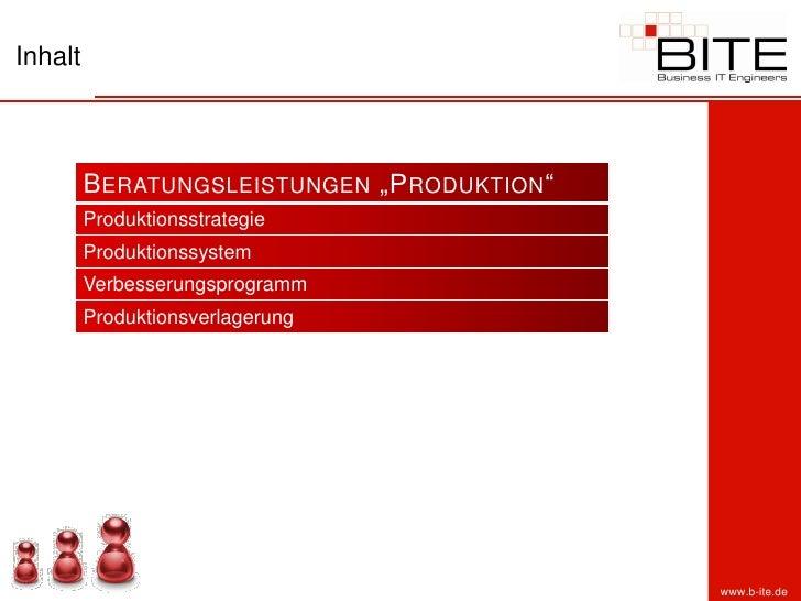 """Inhalt             B ERATUNGSLEISTUNGEN """"P RODUKTION """"          Produktionsstrategie          Produktionssystem          V..."""