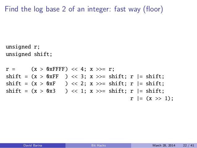 1 Floor Log2 N