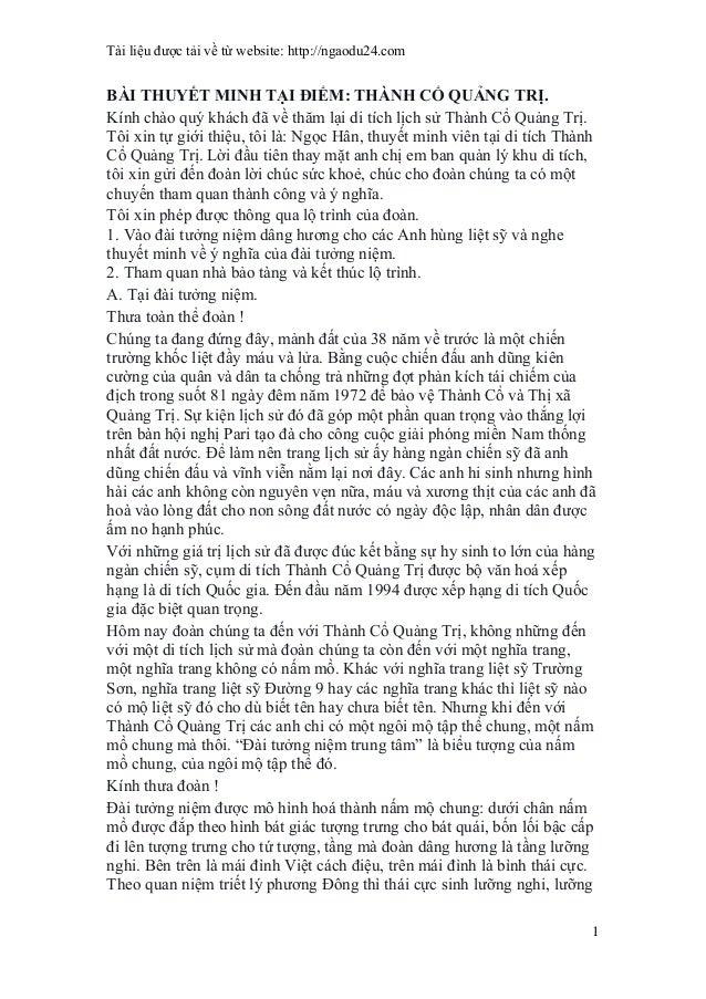 Tài liệu được tải về từ website: http://ngaodu24.com 1 BÀI THUYẾT MINH TẠI ĐIỂM: THÀNH CỔ QUẢNG TRỊ. Kính chào quý khách đ...