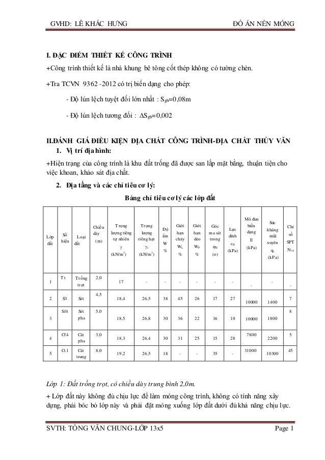 GVHD: LÊ KHẮC HƯNG ĐỒ ÁN NỀN MÓNG SVTH: TÒNG VĂN CHUNG-LỚP 13x5 Page 1 I. ĐẶC ĐIỂM THIẾT KẾ CÔNG TRÌNH +Công trình thiết k...