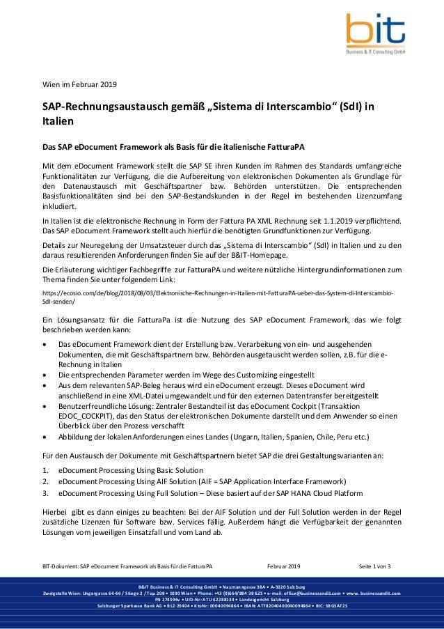 BIT-Dokument: SAP eDocument Framework als Basis für die FatturaPA Februar 2019 Seite 1 von 3 B&IT Business & IT Consulting...