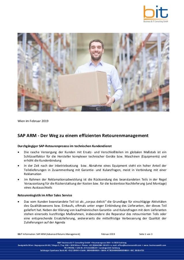 B&IT-Information: SAP ARM (Advanced Returns Management) Februar 2019 Seite 1 von 3 B&IT Business & IT Consulting GmbH • Na...