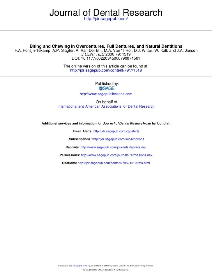 Journal of Dental Research                            http://jdr.sagepub.com/        Biting and Chewing in Overdentures, F...