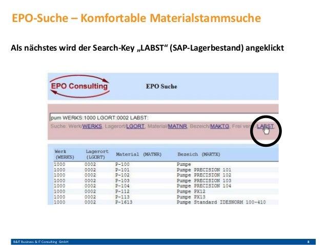 """B&IT Business & IT Consulting GmbH 8 Als nächstes wird der Search-Key """"LABST"""" (SAP-Lagerbestand) angeklickt EPO-Suche – Ko..."""