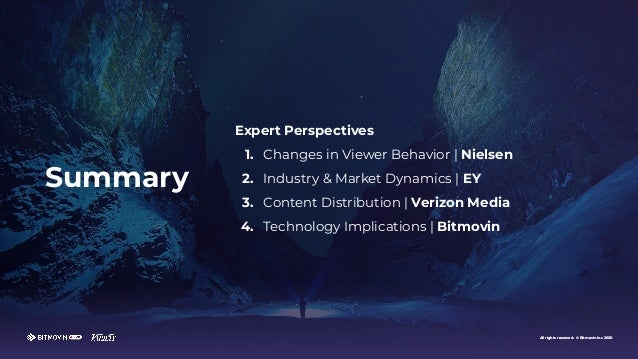 All rights reserved. © Bitmovin Inc 2020 Expert Perspectives 1. Changes in Viewer Behavior | Nielsen 2. Industry & Market ...