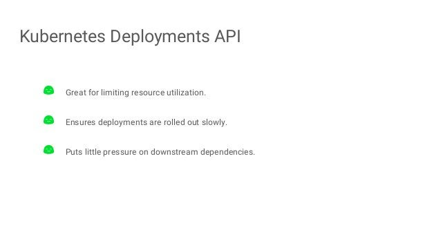 Kubernetes Deployments API Great for limiting resource utilization. Ensures deployments are rolled out slowly. Puts little...
