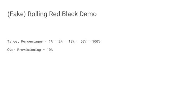 (Fake) Rolling Red Black Demo Target Percentages = 1% → 2% → 10% → 50% → 100% Over Provisioning = 10%