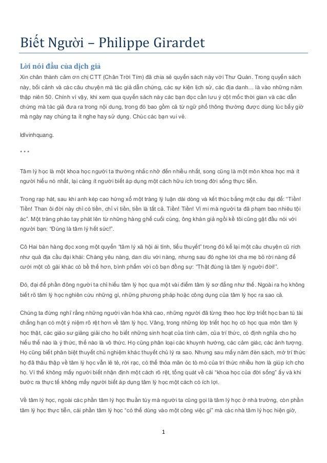 Biết Người – Philippe Girardet Lời nói đầu của dịch giả Xin chân thành cảm ơn chị CTT (Chân Trời Tím) đã chia sẻ quyển sác...