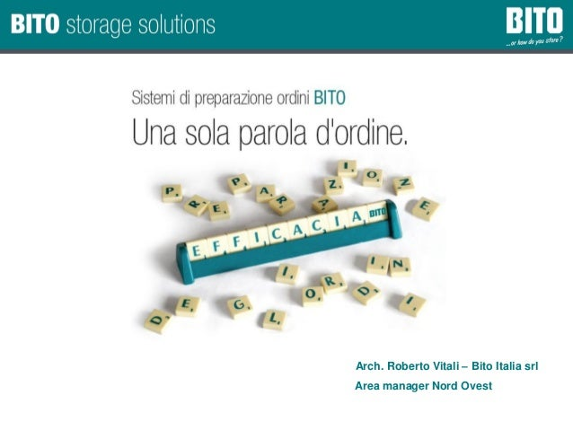 Company Presentation / Date of issue: 22.06.2015/ Author: Arch. Roberto Vitali – Bito Italia srl Area manager Nord Ovest