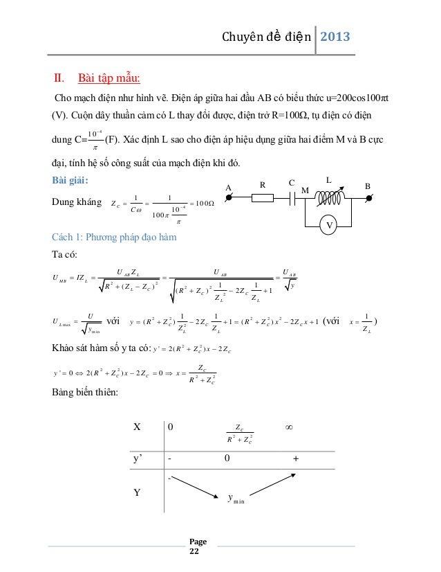 Chuyên đề điện 2013 II.  Bài tập mẫu:  Cho mạch điện như hình vẽ. Điện áp giữa hai đầu AB có biểu thức u=200cos100πt (V). ...