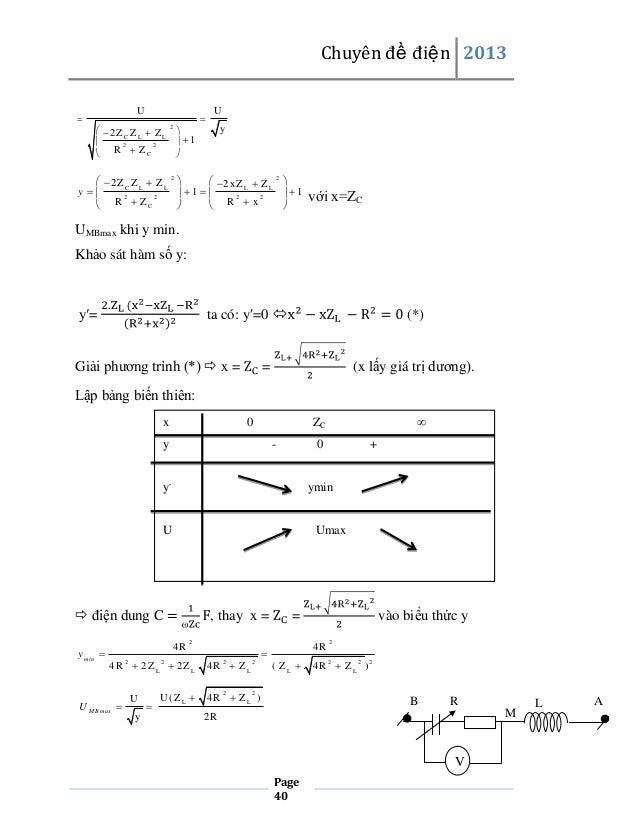 Chuyên đề điện 2013    U  2ZC Z L  Z L    1 2 2  R  ZC     U  2  y   2 Z C Z L  Z L 2    2 xZ L  Z L 2 ...