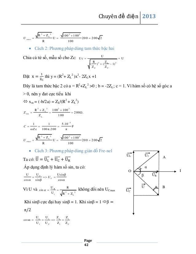 Chuyên đề điện 2013 R  ZL 2  U cm a x   2  100  100 2  U   R  2  200  200 2  100   Cách 2: Phương pháp dùng tam thức...