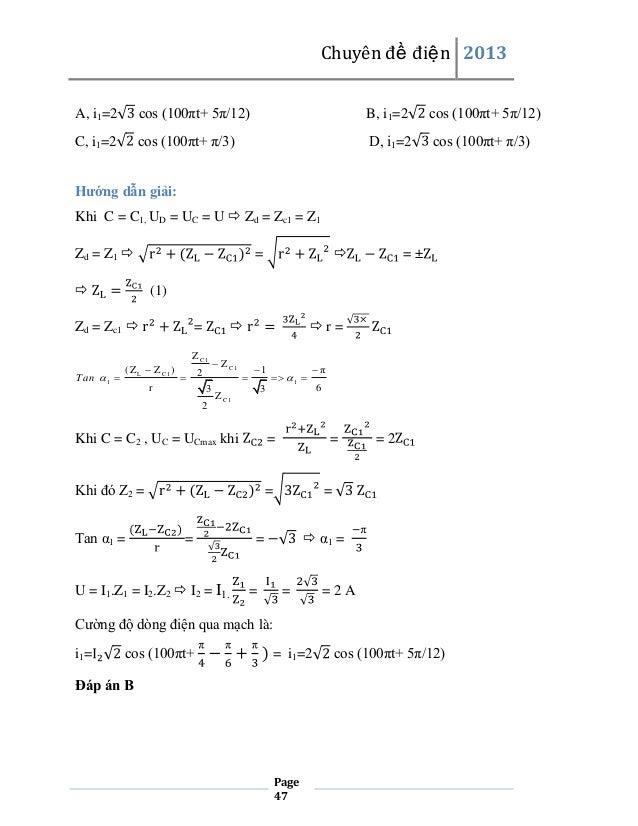 Chuyên đề điện 2013 A, i1=2  cos (100πt+ 5π/12)  B, i1=2  cos (100πt+ 5π/12)  C, i1=2  cos (100πt+ π/3)  D, i1=2  cos (100...