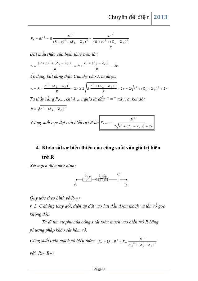Chuyên đề điện 2013  PR  RI  2   R  U  2  (R  r )  (Z L  Z C ) 2  2    U  2  (R  r )  (Z L  Z C ) 2  2  R  Đặt mẫ...