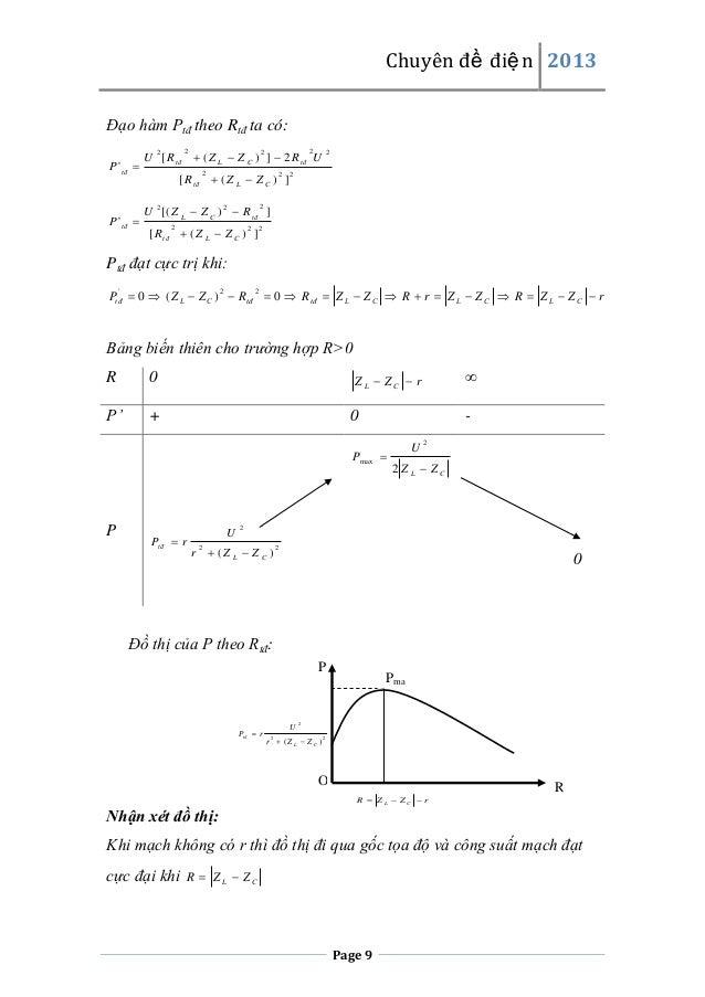 Chuyên đề điện 2013 Đạo hàm Ptđ theo Rtđ ta có: 2  2  P ' tđ   2  2  [ R tđ  ( Z L  Z C ) ] 2  2  2  2  U [( Z L  Z C ...