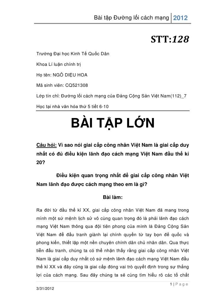 Bài tập Đường lối cách mạng 2012                                                     STT:128Trường Đại học Kinh Tế Quốc Dâ...