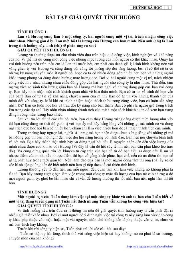 HUỲNH BÁ HỌC                   1                           BÀI TẬP GIẢI QUYẾT TÌNH HUỐNG      TÌNH HUỐNG 1      Lan và Hươ...