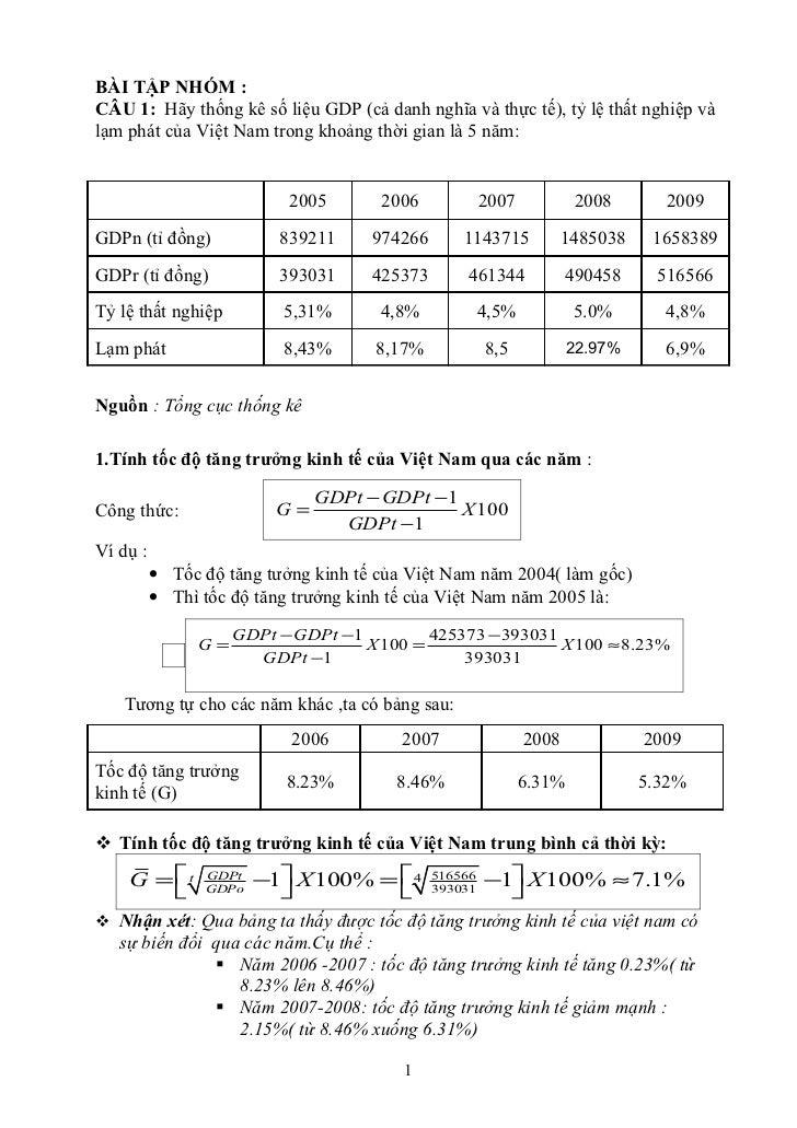 BÀI TẬP NHÓM :CÂU 1: Hãy thống kê số liệu GDP (cả danh nghĩa và thực tế), tỷ lệ thất nghiệp vàlạm phát của Việt Nam trong ...