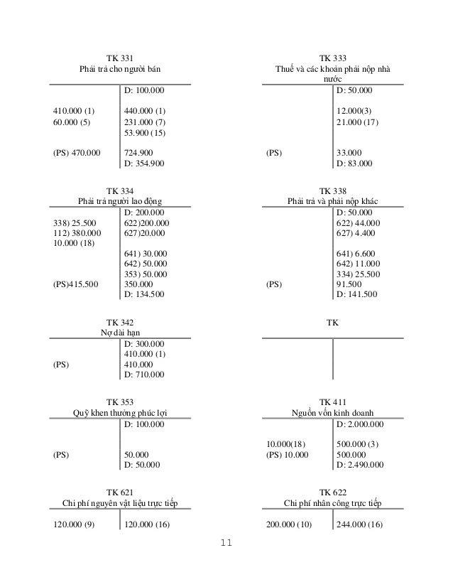 TK 331 Phải trả cho người bán  TK 333 Thuế và các khoản phải nộp nhà nước D: 50.000  D: 100.000 410.000 (1) 60.000 (5)  44...