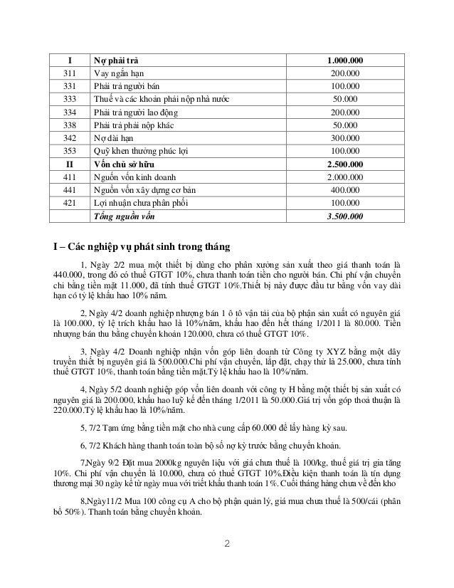 I 311 331 333 334 338 342 353 II 411 441 421  Nợ phải trả Vay ngắn hạn Phải trả người bán Thuế và các khoản phải nộp nhà n...